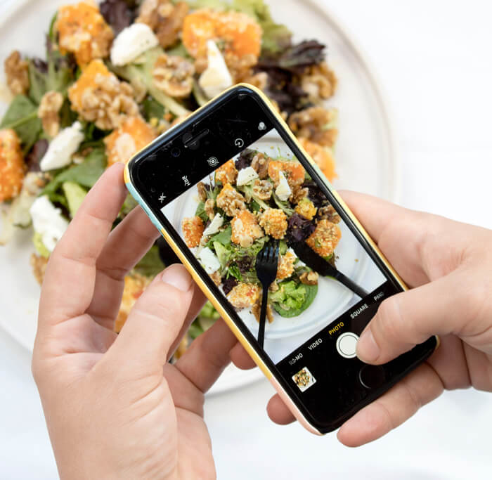 Mobile photo of food for a restaurant website