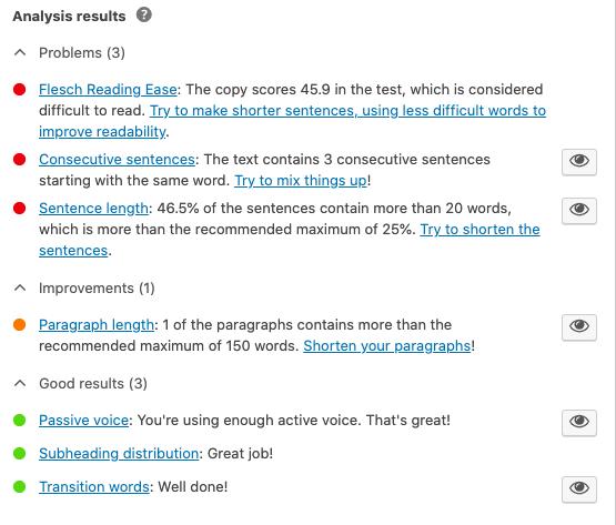 Yoast SEO - Readability Analysis