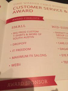 award finalist for customer service