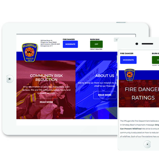 Tablet and phone Pflugerville Fire web design