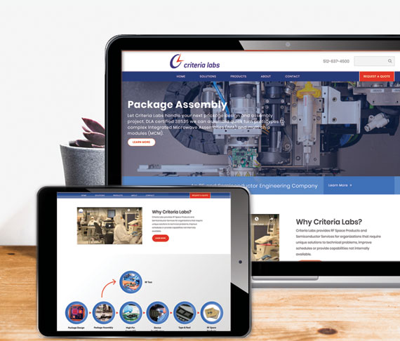 Web design portfolio of engineering website