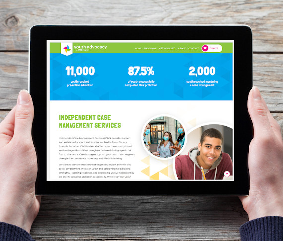 Web design portfolio Youth Advocacy by WEBii