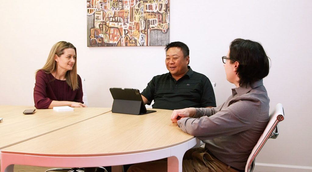 Web development agency meeting in WEBii conference room